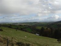View from Mynydd Llanllwni mountain road looking to proposed site and on to Brecon Beacons